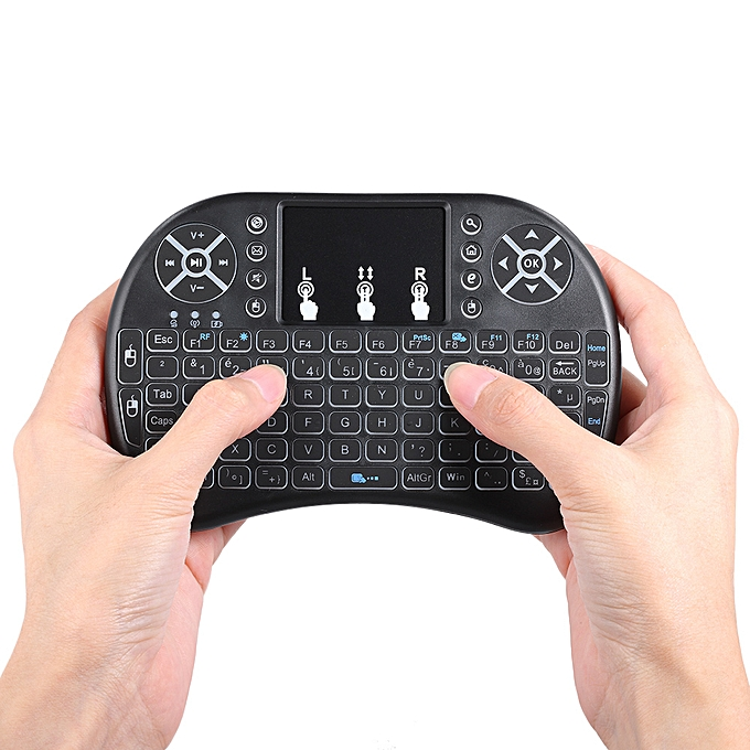 dec9cc9b671 ... French Version Backlit 2.4GHz Wireless Keyboard Air Mouse Touchpad  Handheld Remote Control Backlight for Android ...