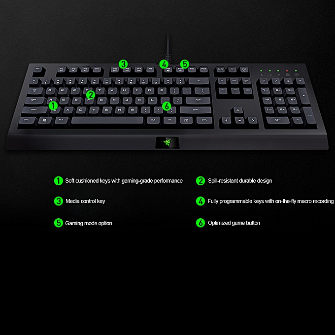 Razer Cynosa Wired Gaming Keyboard Membrane Keyboard for Game Macro  Recording Programmable Keys 104 Keys for Laptop PC