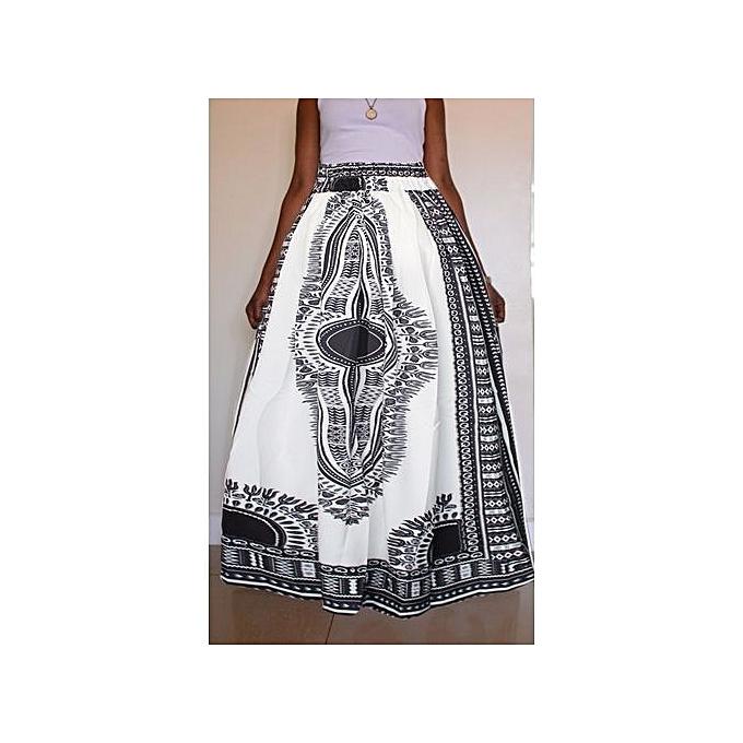 a698b1846e ... Women Non-transparent Satin Long Skirt Vintage Retro Floral Print High  Waist Pleated Flablack White ...