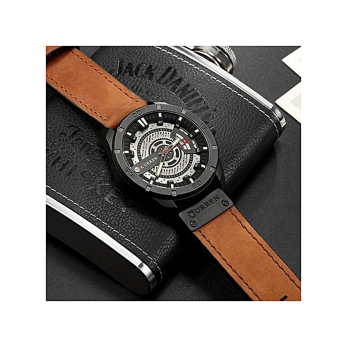 Mens Watches To Watch Men Leather Creative Quartz Wrist Watches Black