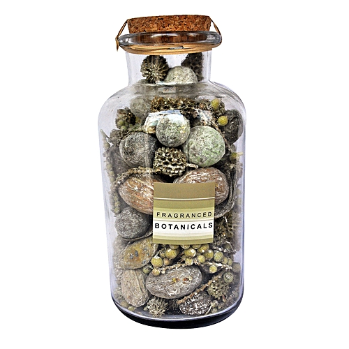10X20Cm Botanical Potpourri Frosted In Glass Pot With Cork And Nice Label