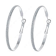 Cly Round Silver Hoop Earrings