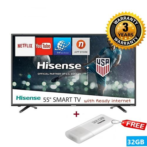 Hisense 55'' Inch 4K Ultra HD Smart TV with Built-in WIFI-1080p Full HD,  With Free view TV Play + Free 32GB Flash (2018 Model) - Black