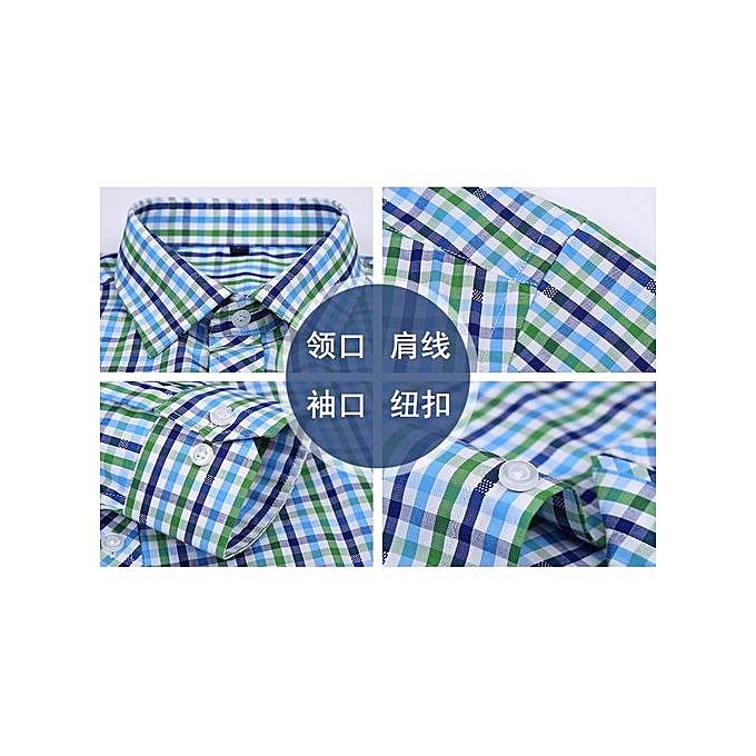 0d6f48f9c84 Large Size Mens Plaid Casual Shirts Long Sleeve 100% Cotton Dress Shirt Men  Retro Style Camiseta Masculina-7110-8