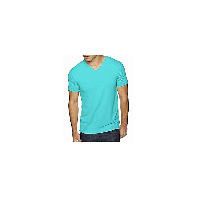 f2a287594cb1 Buy Generic Men's V-neck Short sleeve T-Shirt - Ocean Blue online ...