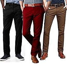 e5304a22836cd8 3 Pack Of Khaki Men's Trousers - Black, Red, ...