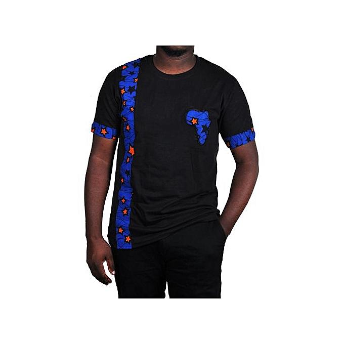 b5f0fd854b4a Buy Generic Blue Star Ankara Kitengi African Men's T-Shirt - Black online |  Jumia Uganda