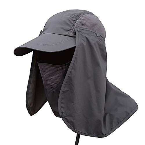 738e88c32 Hiking Fishing Hat Outdoor Sport Sun Protection Neck Face Flap Cap Wide  Brim dark gray