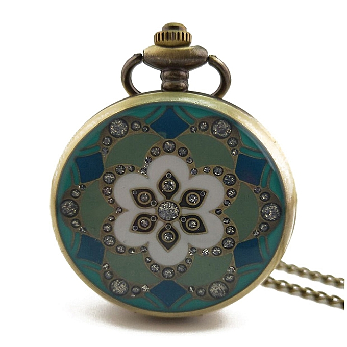19d247a58 Flower Pattern Vintage Antique Round Dial Quartz Pocket Watch for Mens  Womens