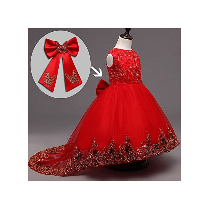 89170c5bb622f Baby Girl Dress Children Kids Dresses For Girls 2 3 4 5 6 7 8 9 10 Year  Birthday Outfits Dresses Girls Evening Party Formal Wear-red