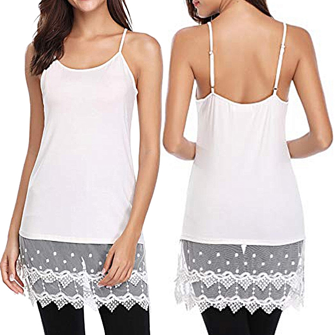 e4205f7f9aa8a Hiamok Women Ladies Solid Sexy Lace Patchwork Insert O-Neck Sling Loose  Tank Top Blouse
