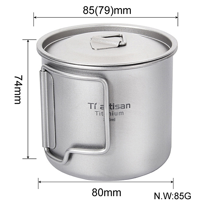 79b01e75cf0 ... Hiamok Ultralight Titanium Cup Picnic Outdoor Titanium Water Mug With Folding  Handles Drinking Camping Cups 350ML ...