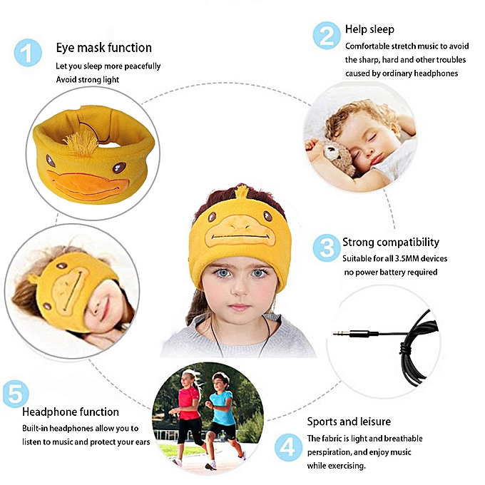 Hiamok Children's plush cartoon Wire-Controlled Head-Mounted Sleep  Headphones Earphone