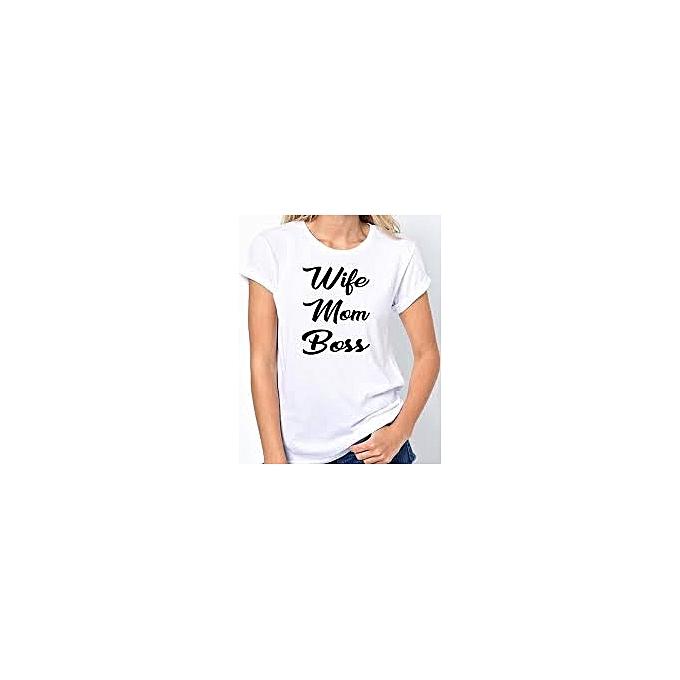 1c45932d6 Other Wife, Mum, Boss Women's T-Shirt - White.   Jumia Uganda