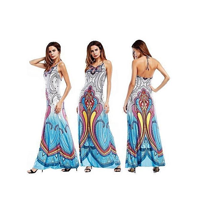 a30786cfd2 Women's Leisure Dress One-piece Dress Beach Sling Backless Sleeveless Sexy  Dress Digital Printing