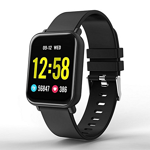 R6 Smart Bracelet Full Screen Touch Heart Rate Monitor Intelligent Reminder  silicone black