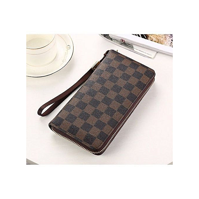 buy popular 4df44 1206e Refined Women's Long Wallet Zipper New Casual Clutch Grid Wallet  Multifunction Men's Phone Bag-brown