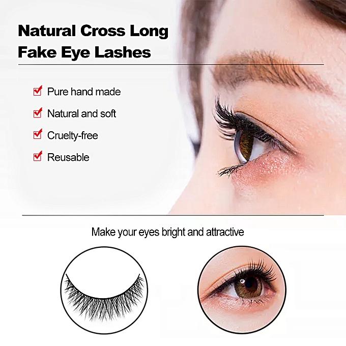 ecebff61727 ... SHIDISHANGPIN 3 Pairs 3D Mink Eyelashes Handmade Natural Cross Long Fake  Eye Lashes Extension Wispy False