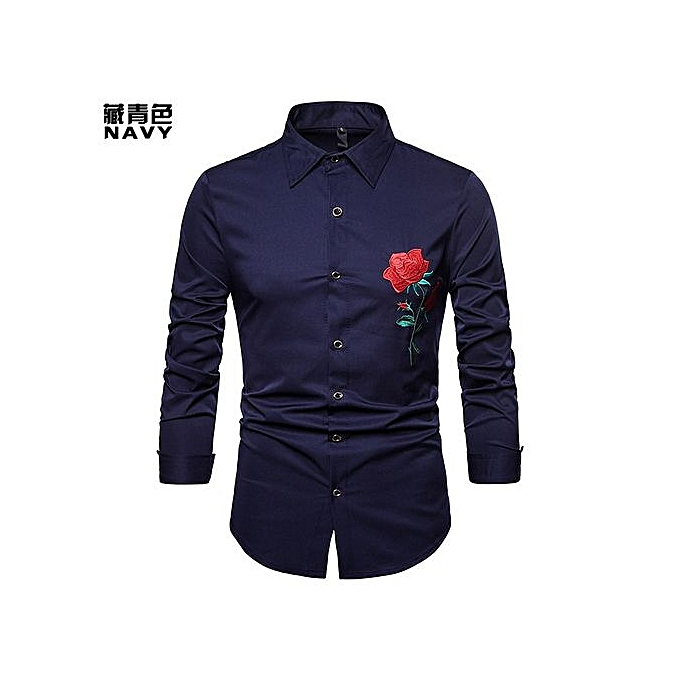 c8d51215 Men Shirt Clan Wind Rose Embroidery Casual Slim Fit Male Shirts Turn-Down  Collar Men
