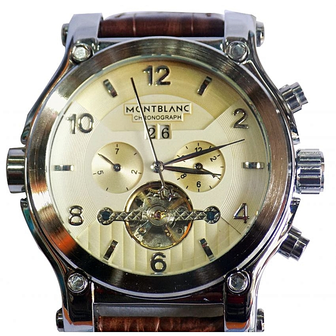 Montblanc Automatic Mens Watch Sliver Gold