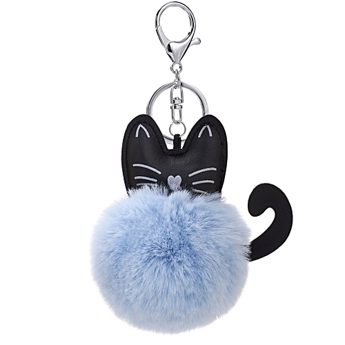 Fluffy Faux Fur Ball Keychain Cartoon Cat Plush Key Chain Bag Charm Pendant  blue