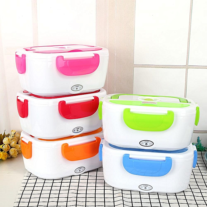 76868606517a 220V Electric Heated Heating Lunch Box Set Food Warmer Container Bento EU  Plug Green