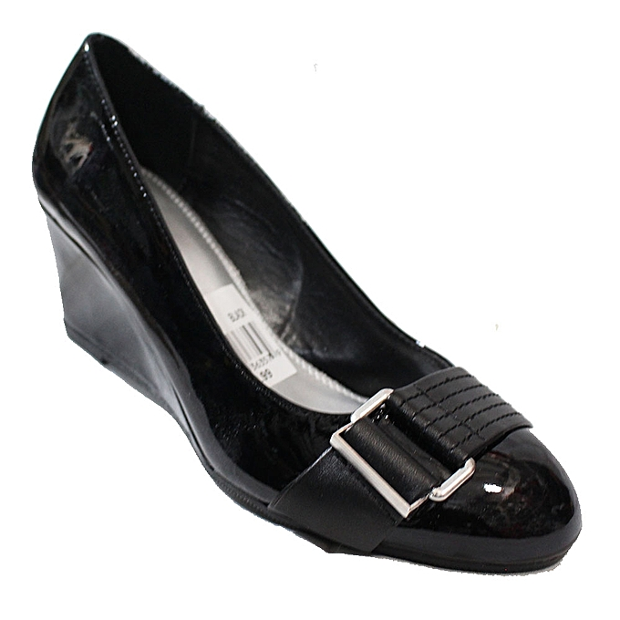 03b59eadaf0 Patent Leather Wedge Shoes - Black