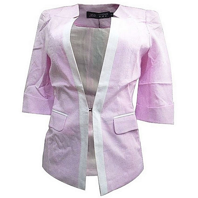 - Pedal Sleeved Women's Blazer With White Highlight-Pink