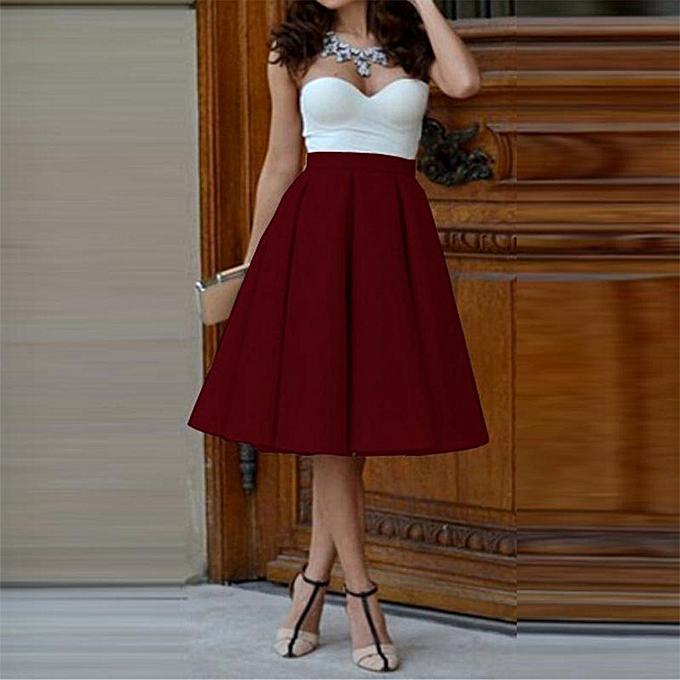 0dba22060dd7c3 Buy Generic Kiss Pleated Midi Skirt - Maroon. online | Jumia Uganda