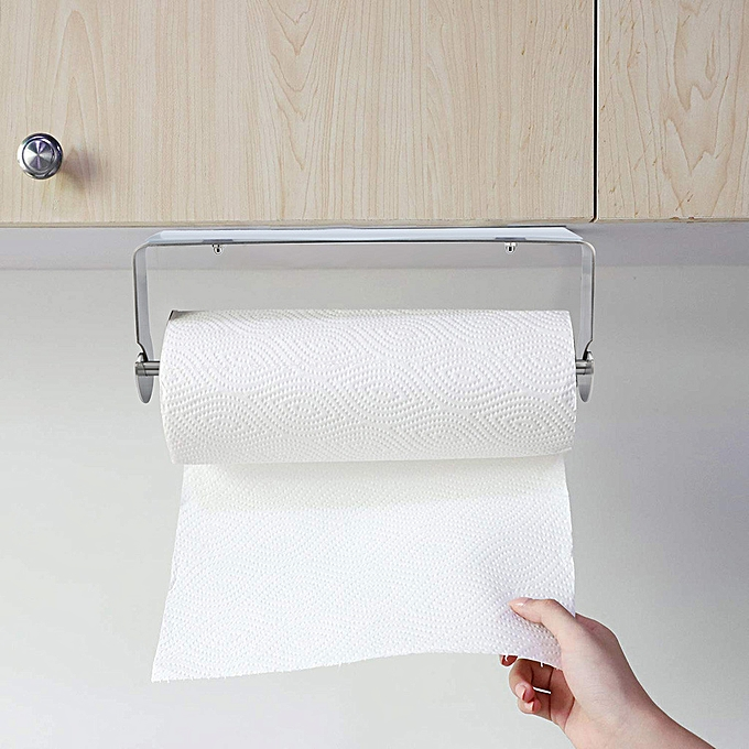 Hiamok Adhesive Paper Towel Holder Under Cabinet For Kitchen Bathroom Brushed