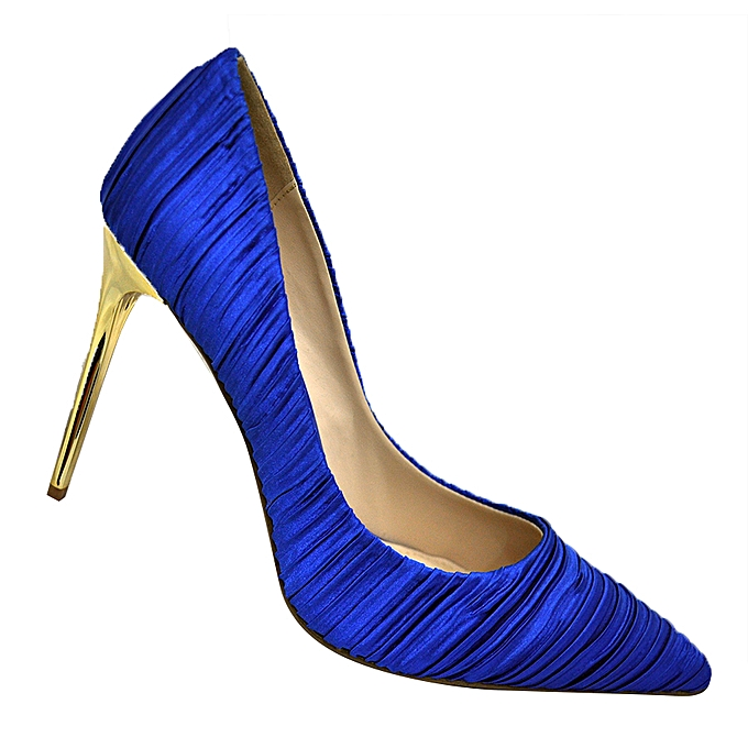 97ef26d6720 Women's Pointed Toe Silk High Heels - Blue And Gold