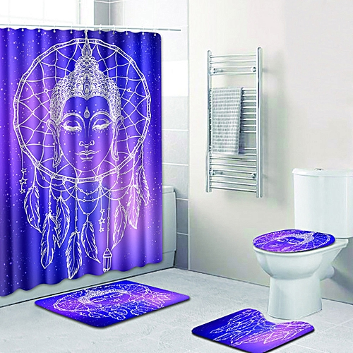 (Xiuxingzi) 4PCS Sea Style Non Slip Toilet Polyester Cover Mat Set Bathroom  Shower Curtain
