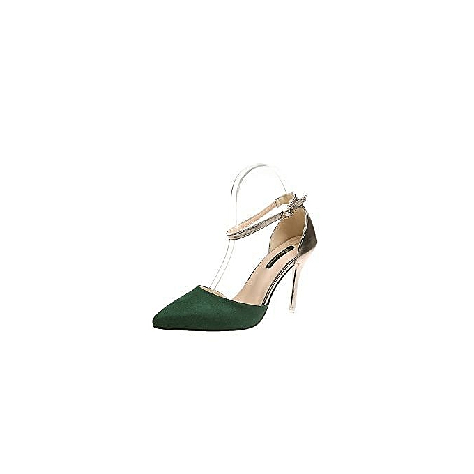 041d40c933 European And American Sexy Color Matching Hollow High-heeled Shoes 2018  Spring And Autumn Suede