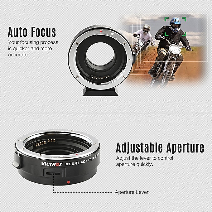 Viltrox EF-M1 Lens Adapter Ring Mount AF Auto Focus Aperture Control VR  Stabilization for EF/EF-S Lens to M4/3 Micro Four Thirds Camera for  Panasonic