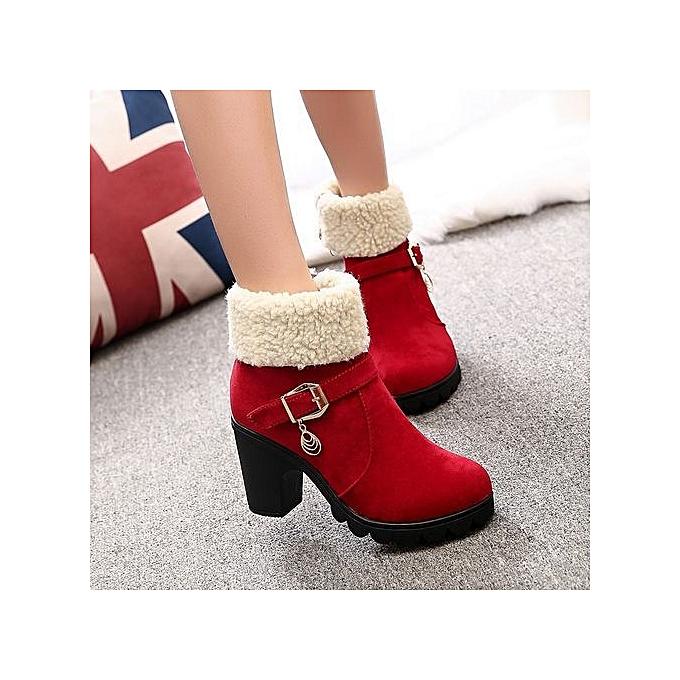 9e7b126ec01 Stylish Autumn Winter Women Thick Heel Belt Buckle Velvet Short Martin Boots