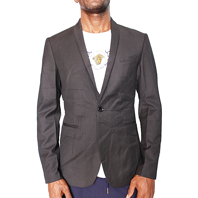 - Men's Slim Fit Plaid Blazer - Black