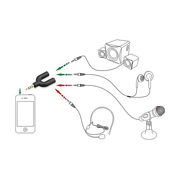 headset adapter kit u shape 3 5mm y splitter for audio headphone and  mic bk