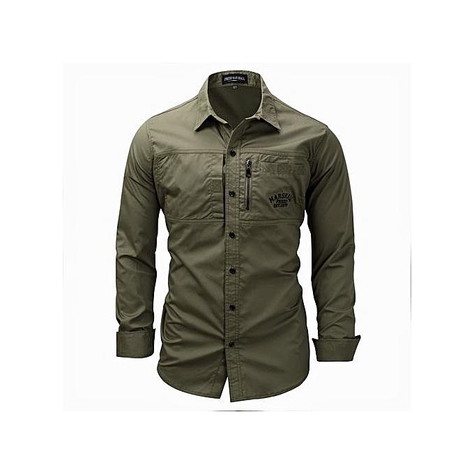 1fa6ac78746 Refined Men's Leisure Shirts Long Sleeved Shirts Turn-down Collar Zipper  Alphabetic Printing Slim Large