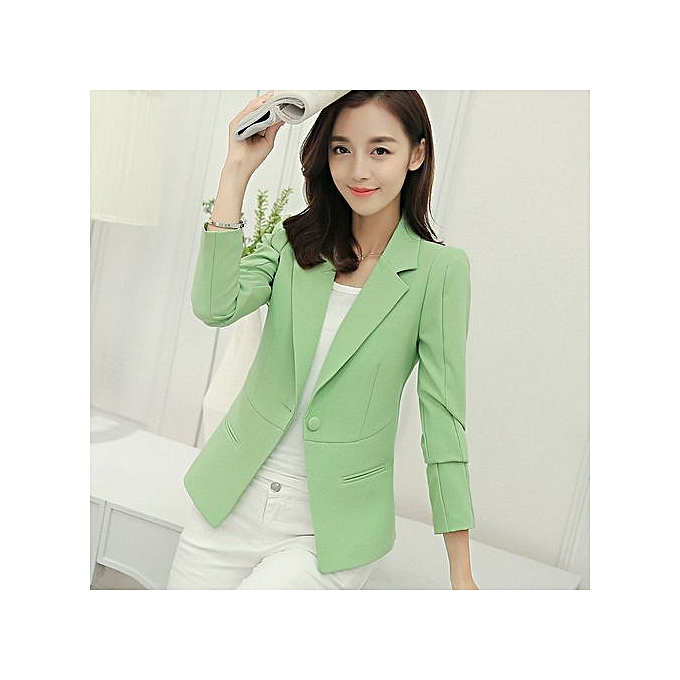 3bbc1ba08 New slim short small suit ladies jacket female wild casual suit-green