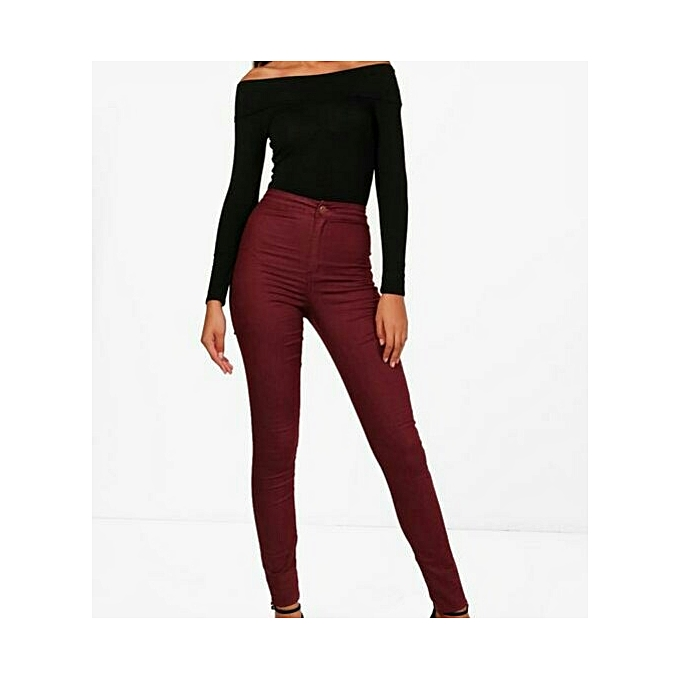 0bcbec3d84 Buy Other Ladies High Waist Jeans - Maroon online | Jumia Uganda