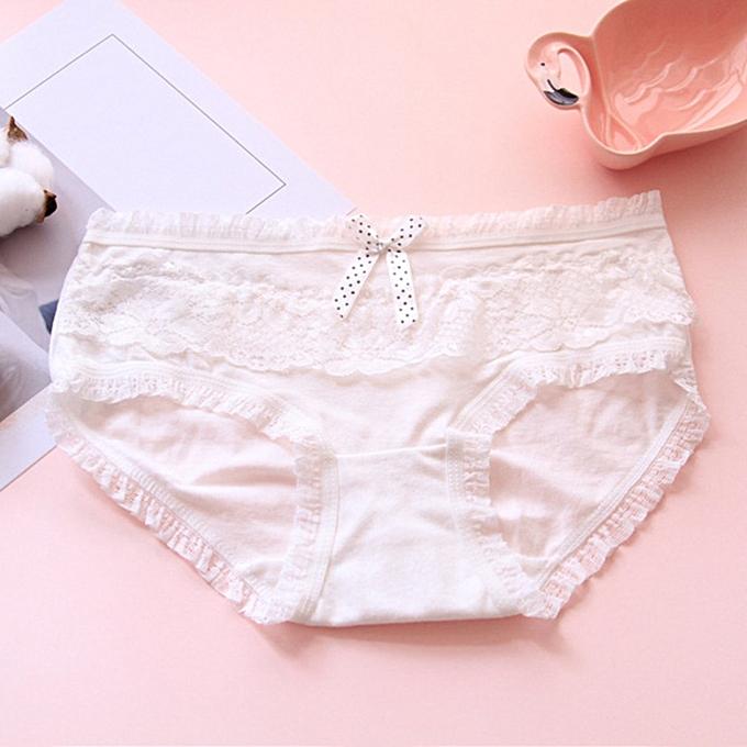302946cd01191e Candy Color Bowknot y Lace Women Underwear Solid Lingerie Panties