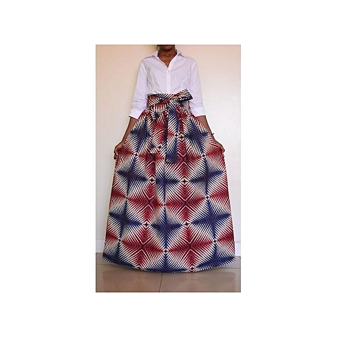 4a4fca316 Women Non-transparent Satin Long Skirt Vintage Retro Floral Print High  Waist Pleated Flared&blue Maxi