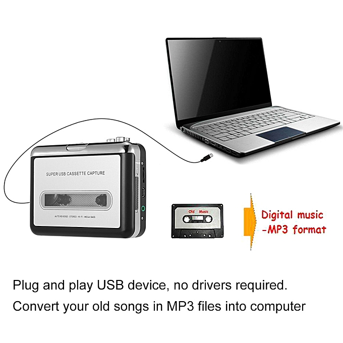 ezcap USB Cassette Capture Cassette Tape-to-MP3 Converter into Computer  Stereo HiFi Sound Quality Mega Bass Audio Music Player with Earphone