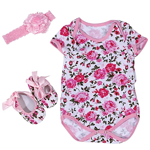 f3e1080ed 3Pcs/Set Cotton Short Sleeve Romper Baby Jumpsuit With Head Band And Shoes  (Rose Pattern L)
