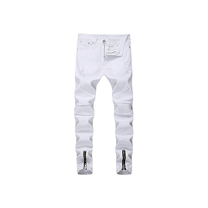 a9d503786f6 Refined Men's Skinny Jeans Fashion Destroyed Denim Trousers Male Ripped  Jeans-white