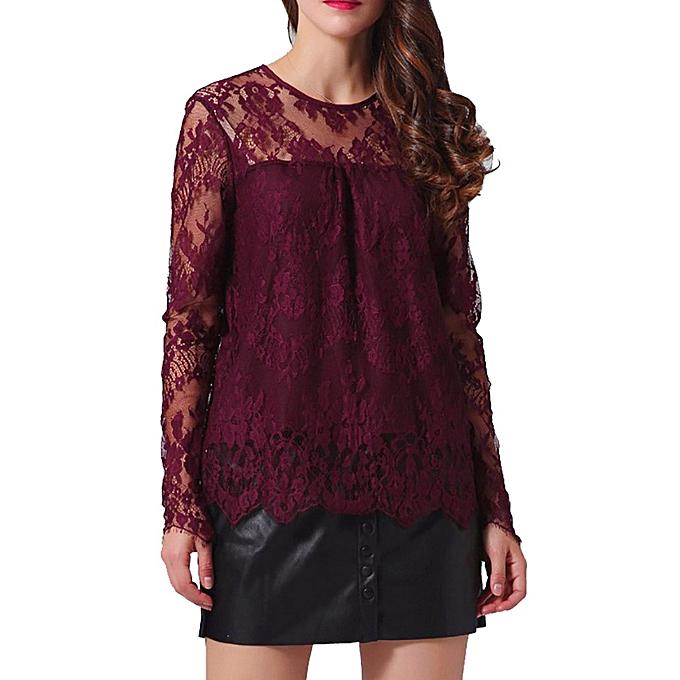 d24034594fc961 Hiamok Women Vintage Transparent Lace Shirt Long Sleeve O-Neck Blouse  Ladies Tops