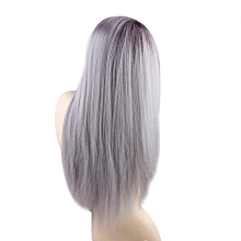 1pc Wig Long Straight Gradient Color Gray with White Braids Cosplay Hair Costume Heat Resistant Woman