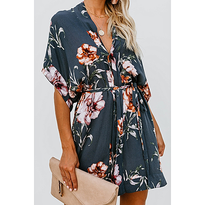 5de748bcce7e7 2019 European and American fashion spring new women's clothing printed  V-neck dress
