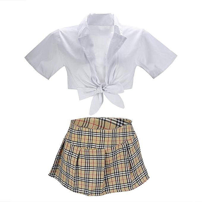 cfd4cae598fb7 Sexy School Girl Uniform Suit Cardigan Crop Top & Plaid Mini Skirt Erotic  Costumes Babydoll