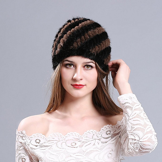 578841783f9 Mink Fur Hat Women Winter Fluffy Knitted Cap Warm Skiing Pineapple Hats